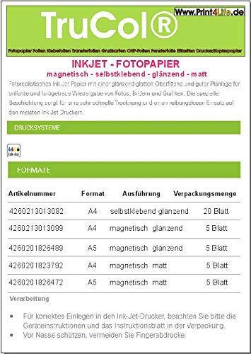 5 Blatt DIN A4 MAGNETISCH Glossy glänzendes Fotopapier; Einseitig Gussgestrichenes, hochweißes und glänzendes Papier für hochqualitative Farbausdrucke rückseitig mit Dauermagnet Versehen