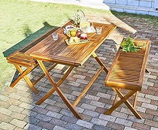 ベンチで並んで座れる♪ ガーデンテーブルセット 折りたたみ ベンチタイプ 3点 木製 ガーデンファニチャーセット 120 パラソル穴付き おしゃれ 無垢 屋外 高級 天然木 チーク材