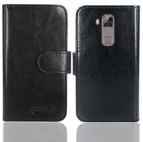 Huawei G8 / GX8 Handy Tasche, FoneExpert® Wallet Hülle Flip Cover Hüllen Etui Ledertasche Lederhülle Premium Schutzhülle für Huawei G8 / GX8 (Wallet Schwarz)