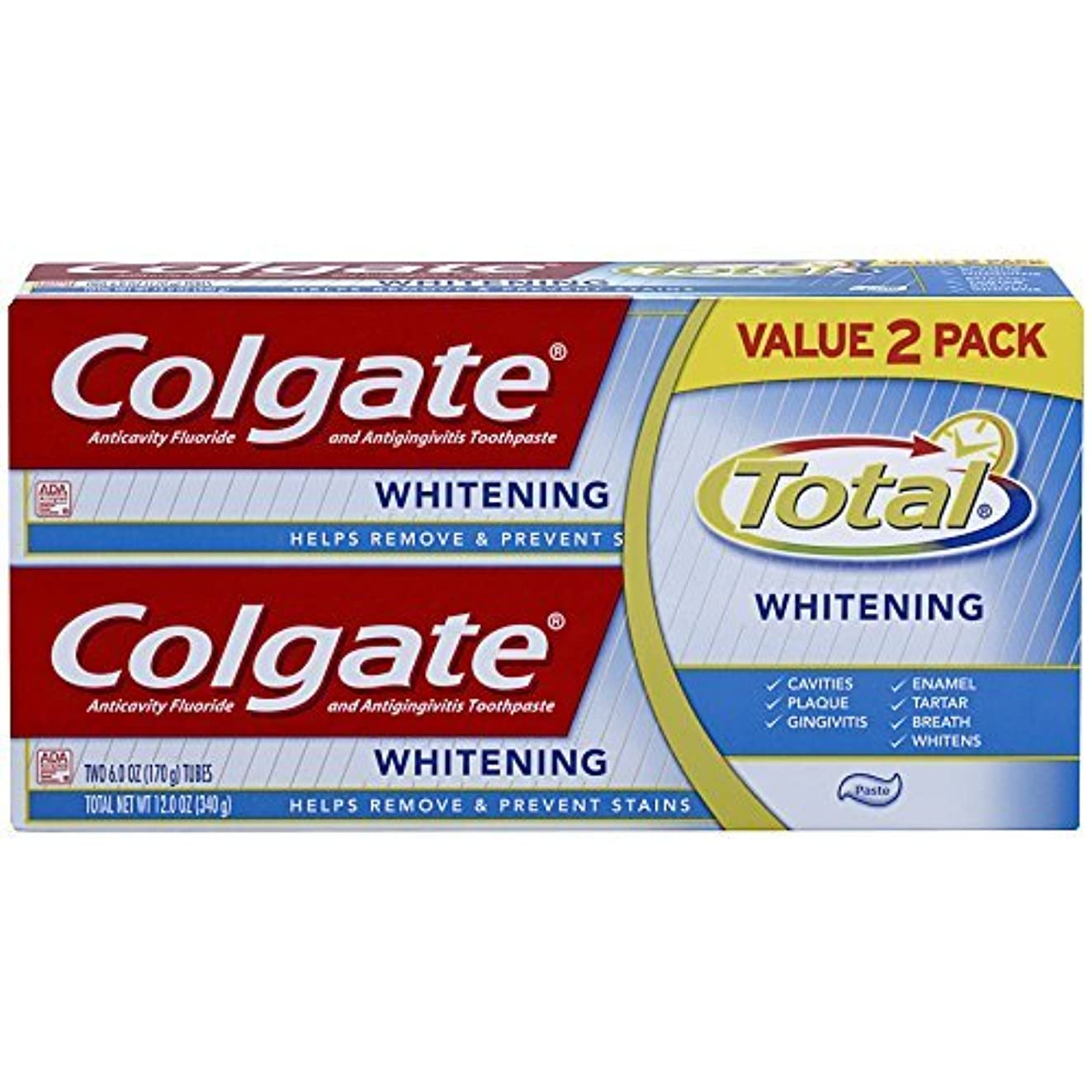 多様な心理的に有害なColgate Total Whitening Toothpaste Twin Pack - 6 ounce [並行輸入品]
