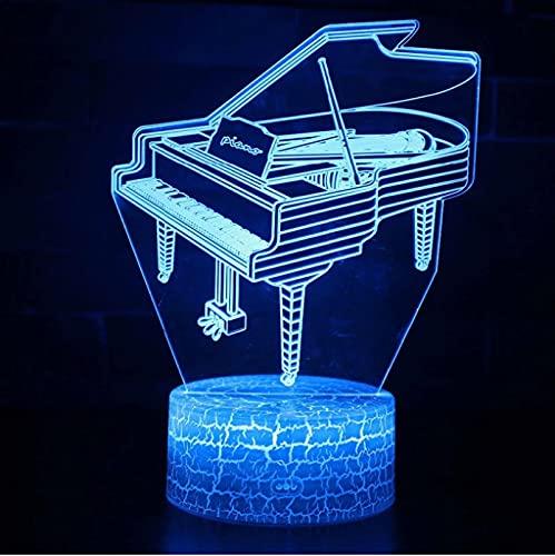 Instrumento Musical Tema De Piano Lámpara 3D Luz De Noche Led Cambio De Color Lámpara De Humor Táctil Regalo De Navidad