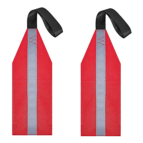 Snner 1 par de Kayak Bandera de Seguridad Kayak Bandera de Seguridad Supra remolcando Recorrido de Canoa Bandera de Advertencia roja con Tiras Reflectantes