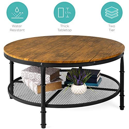 Best Choice Products 2-Tier Round Coffee Table, Rustic Steel Accent Table w/Wooden Tabletop, Padded Feet, Open Shelf