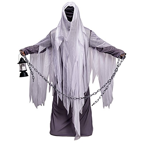 Unisex Ghost Costume Adult Hood Robe for Halloween Party