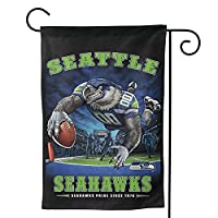 """Size:Standard Garden Flag 12.5""""""""X18"""""""" And 28""""""""X40"""""""" (Not Include Flag Pole) Material Description:Made Of 100% Polyester Fiber (Polyester) Our Seattle Seahawks Flags Is Weatherproof And Non-Fray Durability .Burlap Material Which Are Uv, Fade Resistant..."""