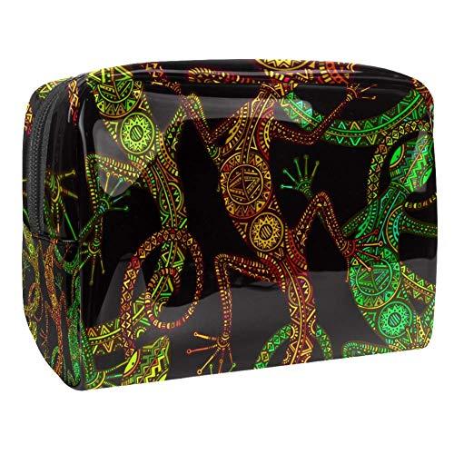 Tragbare Make-up-Tasche mit Reißverschluss, Reise-Kulturbeutel für Frauen, praktische Aufbewahrung, Kosmetiktasche, Eidechse oder Salamander