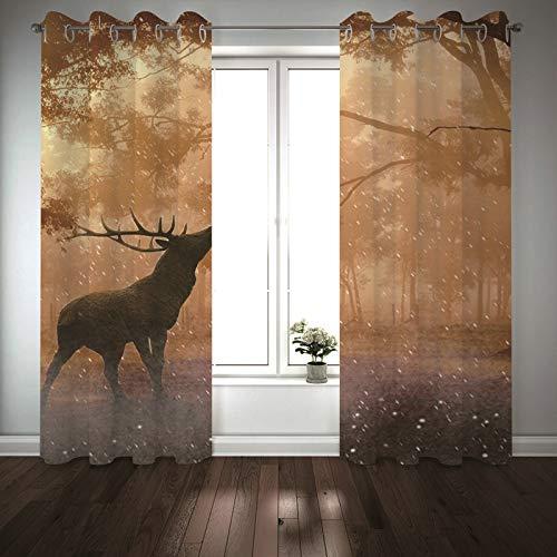 Kihomedy – Juego de 2 cortinas estampadas florales, marrón, gris, ciervo y bosque, aislamiento térmico para cocina, 214 x 160 cm