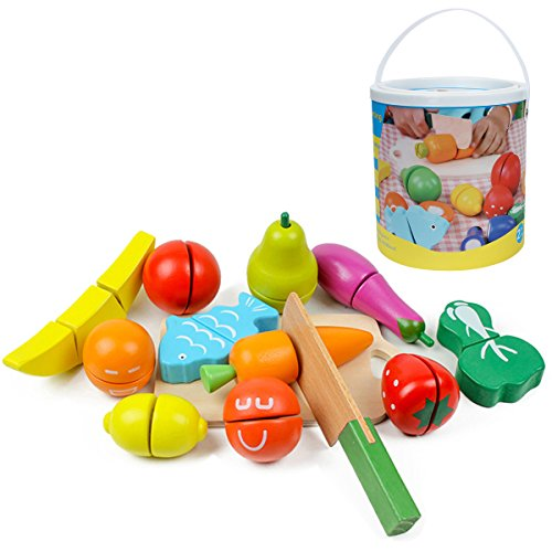 Kitchnexus 13 Teiliges Holz Obst Gemüse Pädagogisches Küchenspielzeug Holzobst Holzgemüse Für Kleinkinder Schneideset Rollenspiele Im Eimer