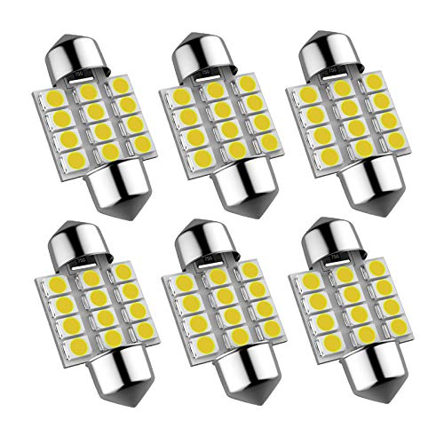 DE3175 Led Car Bulb, 31mm 1.22in 3175 Festoon Led Car Lights Bulb, Super bright white DE3021 DE3022 Led Car Bulb Fit for Interior Map Door Dome lights, Pack of 6pcs