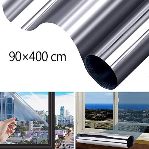 FOCHEA Fensterfolie Selbsthaftend Sonnenschutz Spiegelfolie für Sonnenschutz Fenster Außen und Innen, Sonnenschutzfolie für Schlafzimmer UV-Schutz Silber (90 x 400 cm)