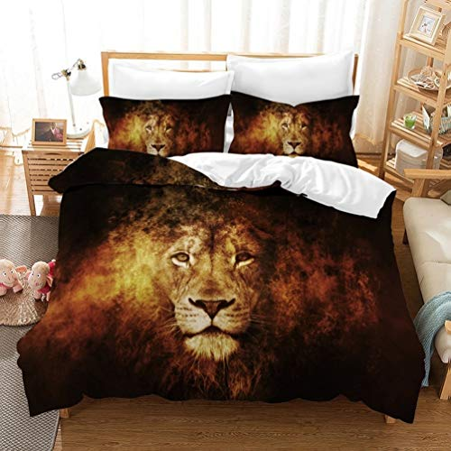 Disney Lion King Bedding Set for Children Boys with 2 Pillow Cases Polyester Simba & Mufasa (A3, King 220 x 240 cm)