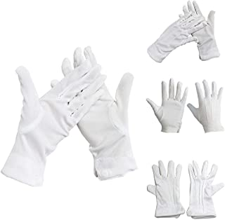 GGJIN 1 Pair White Cotton Formal Adult Gloves Band Parades Catering Work