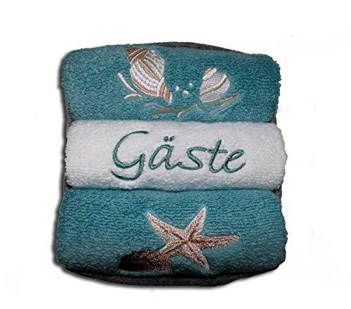 Gästehandtücher bestickt mit Seestern und Muschel-Motiv 3er-Set Frotteetuch im grauen Filzkörbchen als Geschenk - Hochwertige Qualität