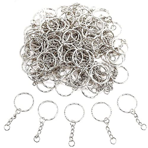 JZK 100 x Portachiavi anello cerchio 25mm con catena in metallo con anellini aperti per porta chiavi mestieri lavori di bricolage