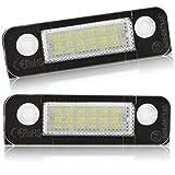 LncBoc Bombillas LED para matrícula de matrícula, luces traseras 18SMD 2835 6000K blanco frío para F-ord Fiesta 01.11, Fusion 01.11, Mondeo MK2, 2 piezas