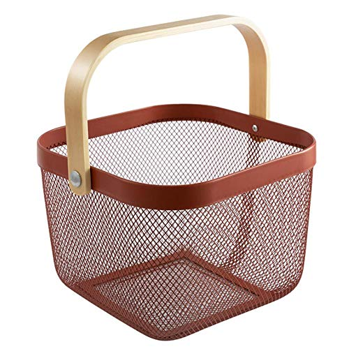 PABESAM Metal Mesh Basket Portable Organizer Basket with Wooden Handle for Kitchen Bedrooms Bathrooms Bath Cabinets Pantry Closets Wine Red
