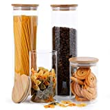 Focus Line Glass Food Storage Jars Containers, High Borosilicate Glass Cookies Jars with Bamboo Lid Set of 4, Airtight Canisters For Coffee, Flour, Sugar, Candy, Cookie, Spice