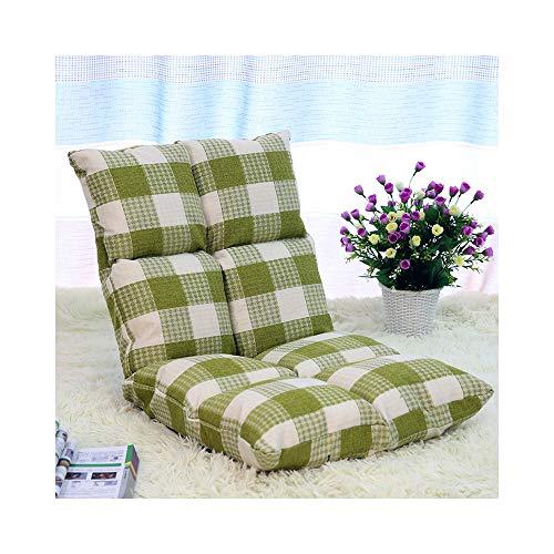 H-ei Klappsofa Lazy Sitzsack Tatami Single Fabric Chair Schlafzimmer Erker Einfache Bett Kissen Abnehmbar und Waschbar Optional 107 × 50 × 13 cm (Color : Green)