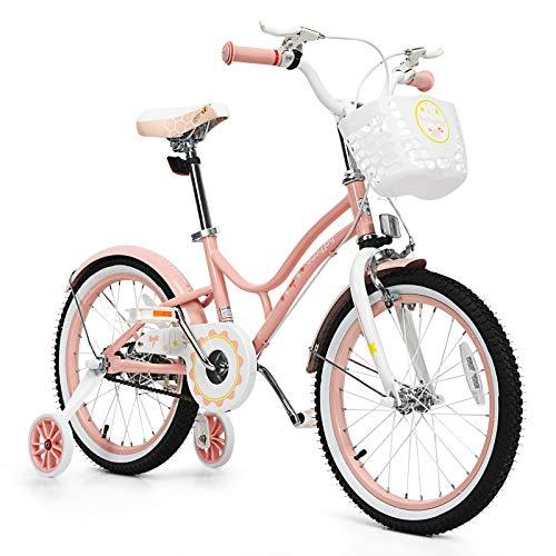 BABY JOY Kids Bike, 16, 18 Inch w/Removable Training Wheels, Adjustable Seat, Steel Frame, Kids Bicycle w/Hand Brake for Emergency Braking, for 4-9 Years Old Toddler Girls Boys (Pink, 18'')