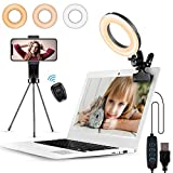 Witzon 6' LED Ring Light for Laptop Computer Phone, Video Conference Lighting with Clip Clamp Mount Desk Tripod Stand Phone Holder Small Mini Selfie Lights for Zoom Meeting/Live Stream/Video Recording