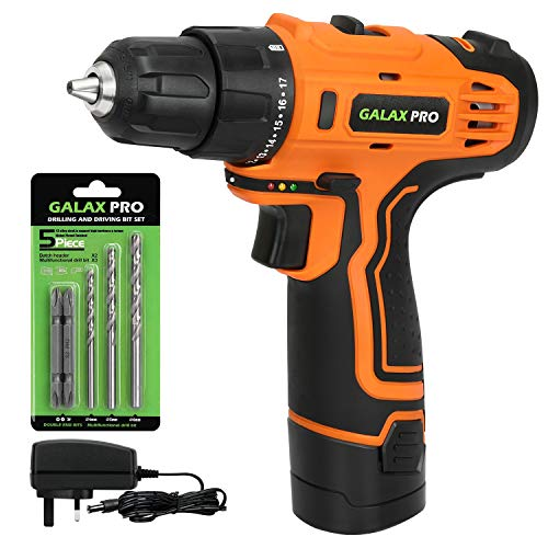 Cordless Drill, GALAX PRO 25Nm Electric Drill, 17+1 Torque Setting and 2 Variable Speed, LED Work Light, Battery & Charger Included