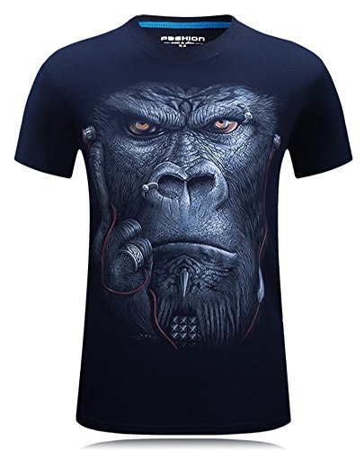 Angcoco Men's Short Sleeve Professional 3D Digital Print T Shirts Chimpanzee