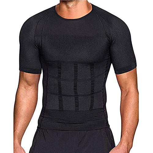 OEMINI Men's Shaper Slimming Compression T-Shirt, Slim Shirt Classic Abs Compression Vest, for Gym Workout T Shirts (XXL,Black)