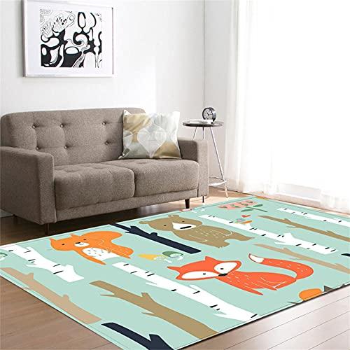 Alfombras Salon Modernas Pelo Corto Animal Verde Azulado Alfombra Grande Tacto Suave...