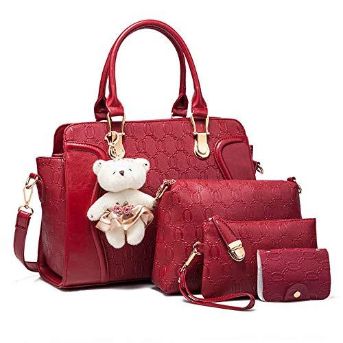 SHCUPE Bolso de Imagen Portátil Diagonal para Mujer,Bolsa de Moda de 4 Piezas, Red