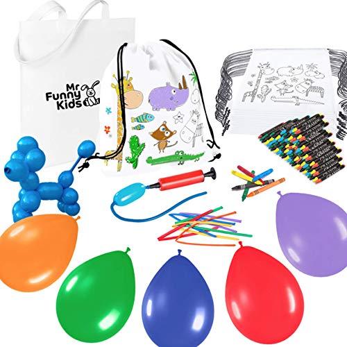 Megapack de 25 bolsas detalles para cumpleaños de niños - 25 mochilas pintables, 50 globos e hinchador - diversión garantizada