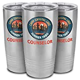 Camp Crystal Lake Counselor | Funny 80s Horror Movie Fan Humor Joke Tumbler | 1980 Horror Movie Funny Coffee Mug (Stainless Steel, 20oz Tumbler)