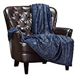 Chanasya Cable Knit Embossed Faux Fur Throw Blanket - Reverse Mink Modern, Comteporary, Elegant, Super Soft, Warm and Cozy for Bed, Couch, Living Room and Bedroom Home Décor (50x65 Inches) Blue