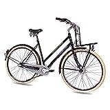 CHRISSON Vélo de ville vintage 28' pour femme avec 3G Nexus Noir 56-71,1 cm