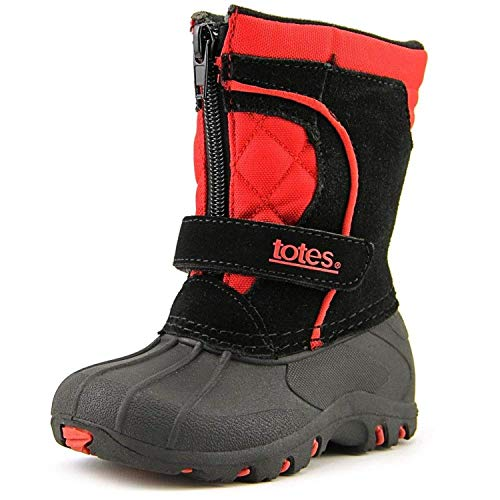 totes Kids' Comfort Snow Boot, Black/RED, 12