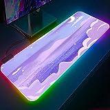 Alfrombrillas de ratón para Gamers RGB Nubes púrpuras Luna ratón para Ordenador portátil Accesorios para Juegos Kawaii Alfrombrillas de ratón para Gamers Mesa LED Brillante 700x300mm