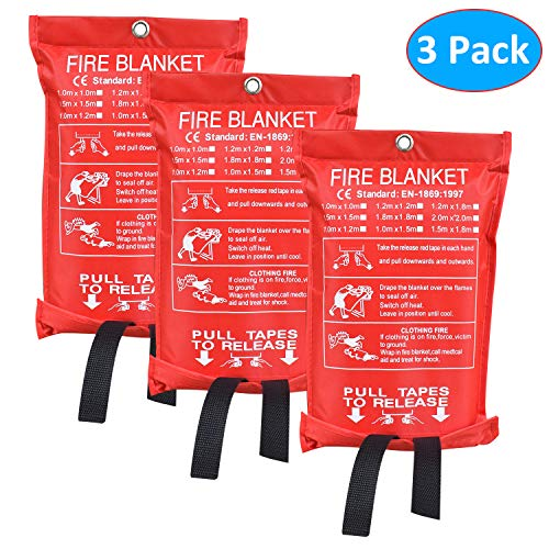 Aaaspark 3 Pack(60'X60') Fire Blanket Fiberglass Fire Emergency Blanket Suppression Blanket Flame Retardant Blanket Emergency Survival Safety Cover for Kitchen,Camping,Fireplace,Grill,Car,RV,Boat