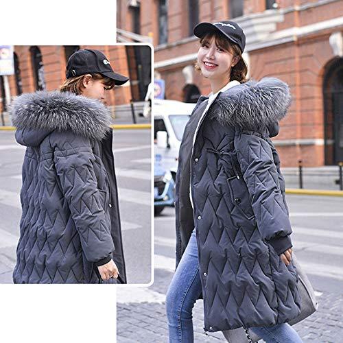 KOUPNLTM Casual Long Down Vestes Femmes Hiver Vogue Chaud Manteau Doudoune Parka Manteau Dames XL Gris