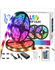 LED Strip Lights, ZHT5M/10M 300 LED Lights Sync to Music with 24 Keys IR Remote and 12V Power Supply Flexible 5050 RGB Rope Light Strips Kit for Home, Bedroom, Kitchen, DIY Decoration
