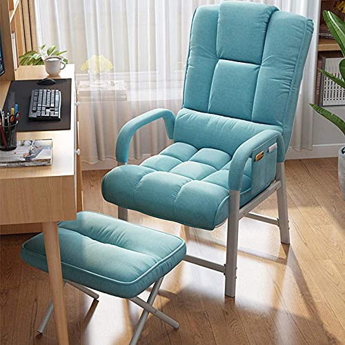 WGFGXQ Sun Lounger Recliner,Office Chair, Gaming Chair Swivel Chair for Adults, Computer Desk Chair with Footrest-Blue