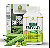 Okra Capsules. Blood Sugar Support Supplements. 1 Bottle (750mg) 60 Veg Capsules. Antioxidant. Vitamin C. Support Digestion, Immune Booster, and Healthy Weight.