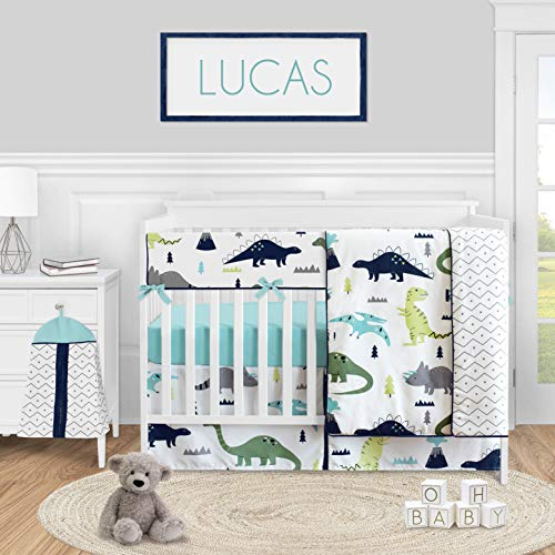 Sweet Jojo Designs Mod Dinosaur Baby Boy Nursery Crib Bedding Set - 5 Pieces - Blue Green and Grey Modern Dino