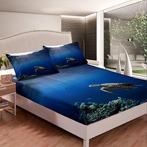 Sea Turtle Bed Sheets 3D Reptile Printed Bed Sheet Set for Kids Boys Girls Marine Life Ocean Themed Bedding Set Sealife Decor Fitted Sheet Room Decor 3Pcs Queen Size,Zipper