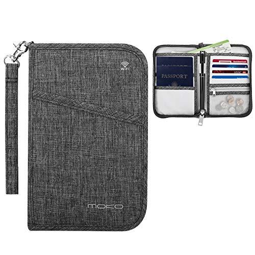MoKo Cartera de Viaje para Pasaporte, Organizador de documentación Bloqueo de RFID con Muti-Compartimiento, Simple y Portátil para Pasaporte, Tarjeta, Dinero - Gris