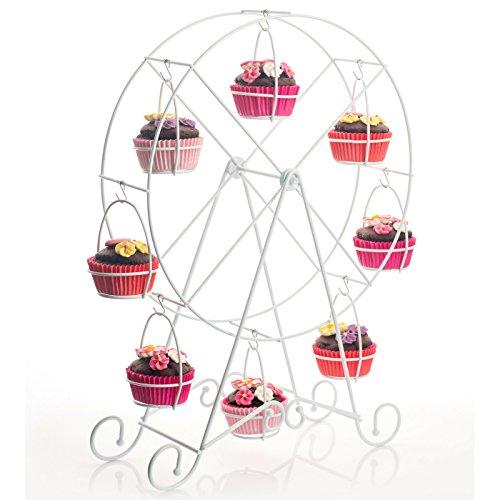 Melidoo 8er Muffin Riesenrad Karusell Ständer Muffinrad Halter | drehbar, weiß, Metall | Ideal für Kindergeburtstag, Hochzeit, Taufe, Geburtstag, Baby Shower, als Geschenk [inklusive E-Book]