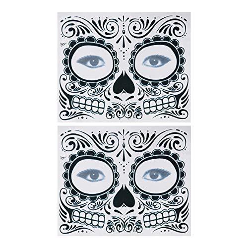 Lurrose 2 unids Tatuajes Temporales Etiqueta Engomada Esqueleto del Día de los Muertos Suministros Impermeable Tattos para Halloween