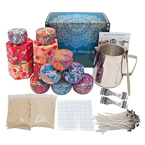 Candle Making Kit, Wax Melt Making kit for Beginners, Complete Candle DIY Gift Set with Wax Melting Jug/Pot, Beeswax, Wicks, Candle Tins & More