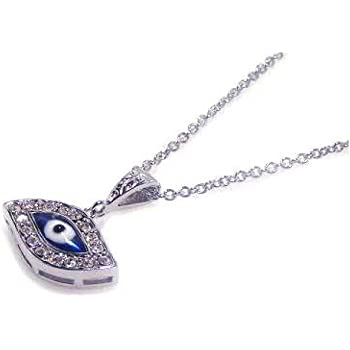 Double Accent Sterling Silver Hamsa Hand Blue Eye Pendant Necklace