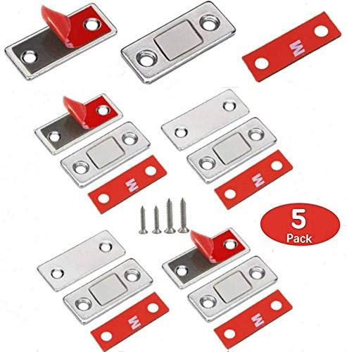 VIPMOON kast deur magnetische vangsten 5 Pack Ultra dunne kleefdeur magneten vangst voor keuken kast luik sluiting kleine kast schuifdeur sluiten magnetische lade vangt dichter plakkerig