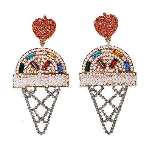 Frauen Böhmische Ohrringe EIS Reis Perlen Ohrringe Blau Weiß