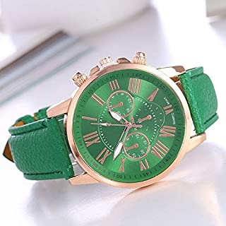 Morden Creative Women and Men Fashion Quartz Watches Leather Sports Casual Watch (Color : Green)